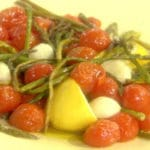 Asparagus Roasted with Cherry Tomatoes, Garlic and Olive Oil
